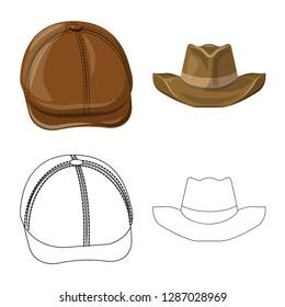 bitmap illustration of headgear and cap icon. Set of headgear and accessory bitmap icon for stock.