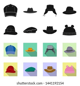 bitmap illustration of headgear and cap icon. Collection of headgear and accessory bitmap icon for stock.