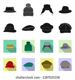 bitmap illustration of headgear and cap sign. Set of headgear and accessory stock bitmap illustration.