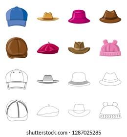 bitmap illustration of headgear and cap symbol. Set of headgear and accessory stock bitmap illustration.