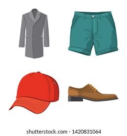 Bitmap illustration of man and clothing logo. Collection of man and wear stock bitmap illustration.
