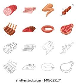 bitmap illustration of meat and ham symbol. Set of meat and cooking stock bitmap illustration.