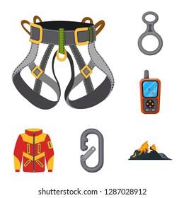 bitmap illustration of mountaineering and peak icon. Set of mountaineering and camp stock bitmap illustration.
