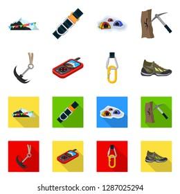 bitmap illustration of mountaineering and peak sign. Collection of mountaineering and camp stock bitmap illustration.