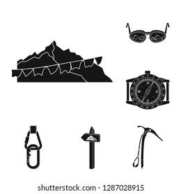 bitmap illustration of mountaineering and peak sign. Set of mountaineering and camp stock bitmap illustration.