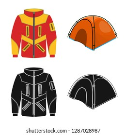 bitmap illustration of mountaineering and peak sign. Collection of mountaineering and camp bitmap icon for stock.