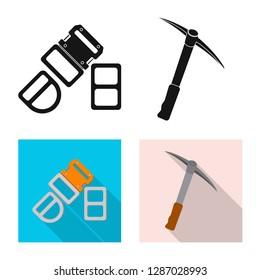 bitmap illustration of mountaineering and peak symbol. Collection of mountaineering and camp stock bitmap illustration.