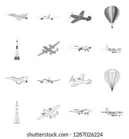 bitmap illustration of plane and transport icon. Set of plane and sky stock bitmap illustration.
