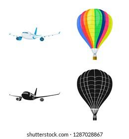 bitmap illustration of plane and transport icon. Collection of plane and sky bitmap icon for stock.