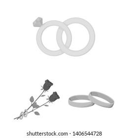 bitmap illustration of ring and wedding logo. Set of ring and anniversary stock bitmap illustration.