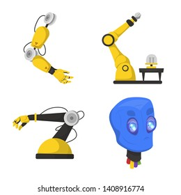 bitmap illustration of robot and factory icon. Set of robot and space bitmap icon for stock.