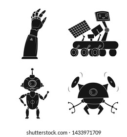 bitmap illustration of robot and factory symbol. Collection of robot and space stock bitmap illustration.