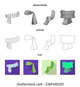 bitmap illustration of scarf and shawl symbol. Collection of scarf and accessory stock bitmap illustration.