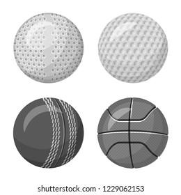 bitmap illustration of sport and ball logo. Set of sport and athletic stock bitmap illustration.