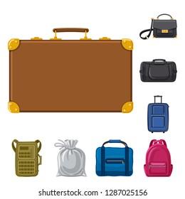 bitmap illustration of suitcase and baggage logo. Collection of suitcase and journey stock bitmap illustration.