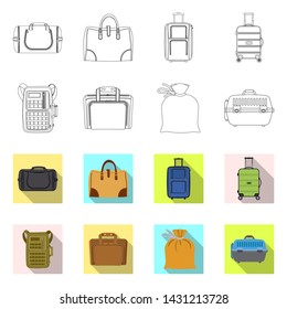 bitmap illustration of suitcase and baggage symbol. Set of suitcase and journey stock bitmap illustration.