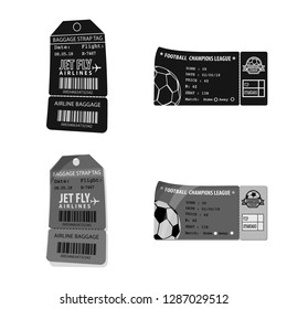 bitmap illustration of ticket and admission symbol. Collection of ticket and event stock bitmap illustration.