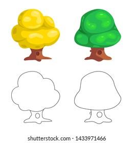 bitmap illustration of tree and nature symbol. Collection of tree and crown stock bitmap illustration.
