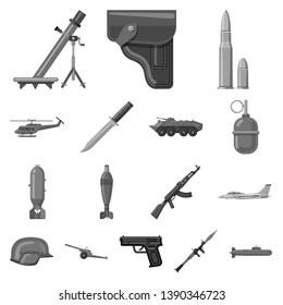 bitmap illustration of weapon and gun icon. Set of weapon and army bitmap icon for stock.