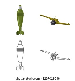 bitmap illustration of weapon and gun sign. Collection of weapon and army bitmap icon for stock.