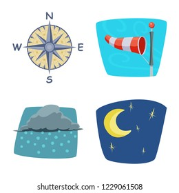 bitmap illustration of weather and climate logo. Set of weather and cloud stock bitmap illustration.