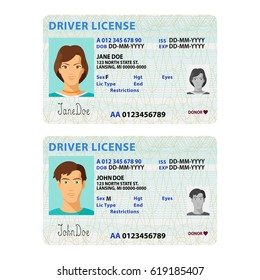 bitmap man and woman driver license plastic card template