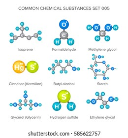 bitmap molecular structures of chemical substances isolated on white