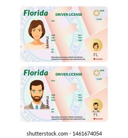 Bitmap template of sample driver license plastic card for USA Florida