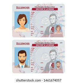 Bitmap template of sample driver license plastic card for USA Illinois