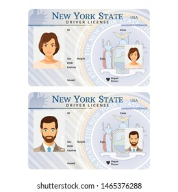 Bitmap template of sample driver license plastic card for USA New York