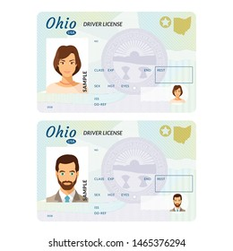 Bitmap template of sample driver license plastic card for USA Ohio