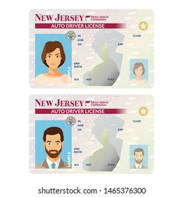 Bitmap template of sample driver license plastic card for USA New Jersey