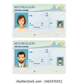 Bitmap template of sample driver license plastic card for USA Michigan