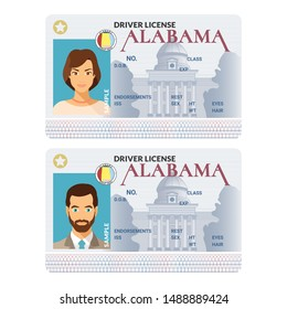 Bitmap template of sample driver license plastic card for USA Alabama