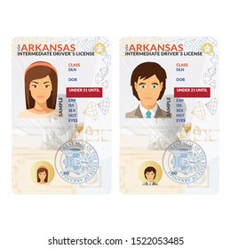 Bitmap template of toy graduated driver license plastic card for USA Arkansas