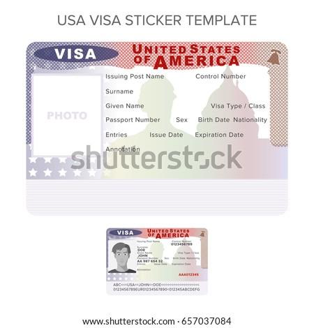 bitmap usa passport visa sticker templateのイラスト素材 657037084
