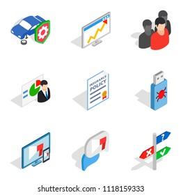 Biz development icons set. Isometric set of 9 biz development icons for web isolated on white background