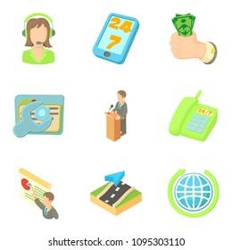 Biz icons set. Cartoon set of 9 biz icons for web isolated on white background