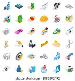 Biz icons set. Isometric style of 36 biz icons for web isolated on white background