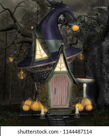 Bizarre witch house with pumpkins - 3D illustration