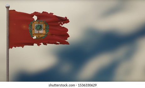 Bizkaiko 3D tattered waving flag illustration on flagpole. Isolated on blurred sky background with space on the right side. Depth of Field effect.