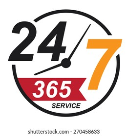 black 24 7 365, twenty four seven, round the clock service sticker, icon, label, banner, sign isolated on white