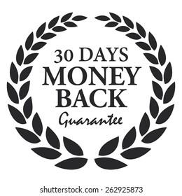 Black 30 Days Money Back Guarantee Wheat Laurel Wreath, Badge, Label, Sticker, Sign or Icon Isolated on White Background