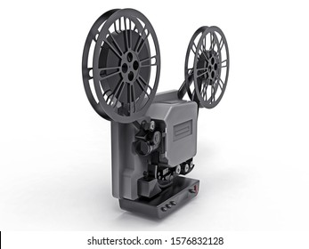 Black 3d cinema film projector isolated on white background. 3d rendering.