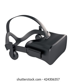 Black 3d model VR headset wearing a virtual reality headset on a white isolate background