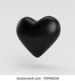 Black 3D Render Heart Illustration