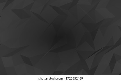 Black abstract background. Lowpoly backdrop. Gloomy crumpled paper. 3D illustration