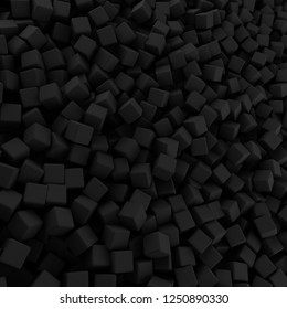 Black abstract heap of cubes backdrop. Contrast 3d rendering geometric polygons, as rough wall. Interior room