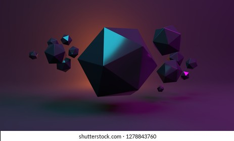 Black abstract shapes on a dark background. Icosahedrons. 3D Render/rendering