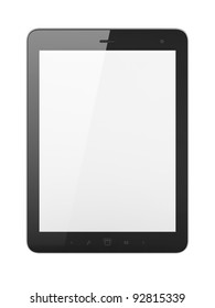 Black abstract tablet computer (tablet pc) on white background, 3d render. Modern portable touch pad device with white screen.